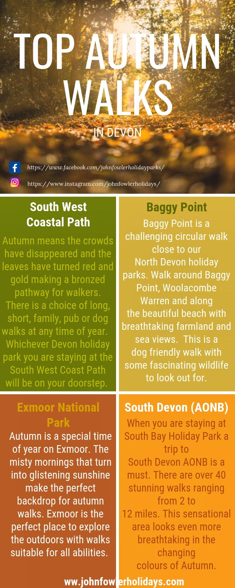 Top Autumn Walks in Devon | John Fowler Holidays Infographic