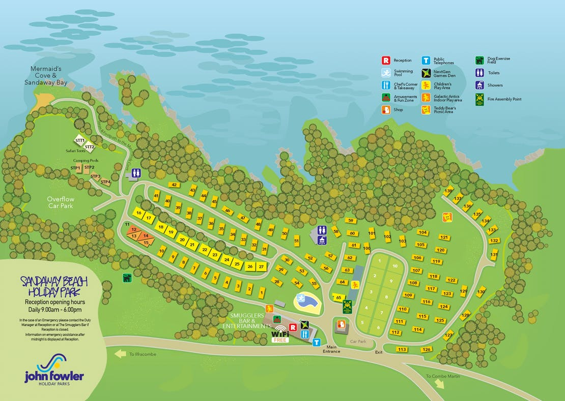 Sandaway Beach Holiday Park Map