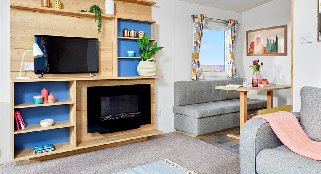 Fire place and view of Dinette